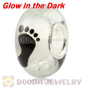 Painted Footprint Fluorescent European Glass Paw Beads in 925 Silver Core