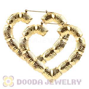 65 70mm Basketball Wives Gold Heart Bamboo Hoop Earrings Whole