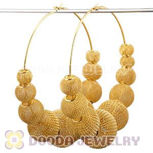 90mm Gold Basketball Wives Mesh Hoop Earrings Whole