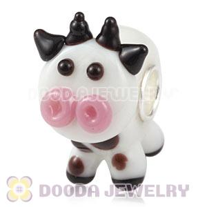 Handmade European Glass CLAUDIA The Cow Beads In 925 Silver Core Wholesale