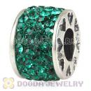 925 Sterling Silver Romance Charm Beads With Aqua Austrian Crystal Wholesale