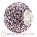 10X13 Big Charm Beads With 130pcs Light Amethyst Austrian Crystal 925 Silver Core