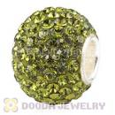 10X13 Big Charm Beads With 130pcs Olivine Austrian Crystal 925 Silver Core