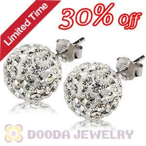 10mm Sterling Silver White Czech Crystal Ball Stud Earrings Wholesale c29c920e1a97