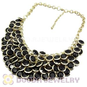 Black Chunky Multi Layers Bubble Bib Statement Necklace Wholesale