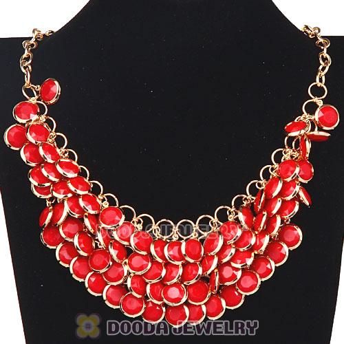 Coral Chunky Multi Layers Bubble Bib Statement Necklace Wholesale