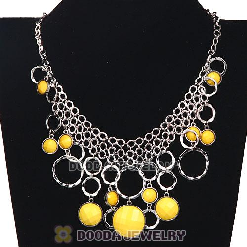 Silver Chains Multilayer Yellow Resin Choker Bib Necklace Wholesale