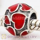 925 Sterling Silver European Style Beads Enamel Red Loves