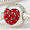 925 Sterling Silver Love Of My Life Clip Beads With Light Siam Austrian Crystal