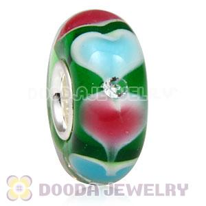 Handmade European Heart Glass Beads Inside Cubic Zirconia In 925 Silver Core