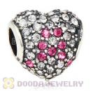 European Sterling Pave Heart Pink Ribbon With Austrian Crystal Charm