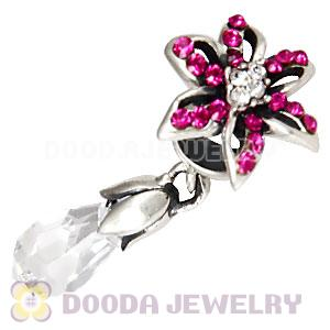 Sterling Silver Lily Briolette Dangle Beads with Fuchsia and Crystal Austrian Crystal
