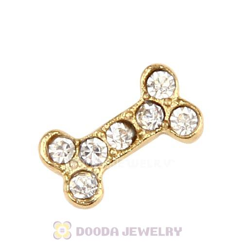 Gold Plated Alloy Dog Bone With Crystal Floating Locket Charms