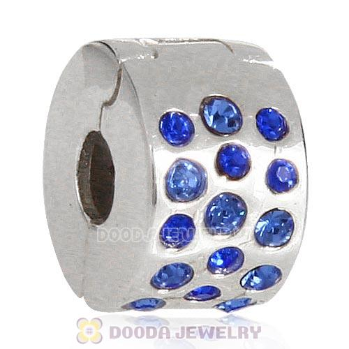 Sterling Silver Glimmer Clip Beads with Sapphire Austrian Crystal European Style