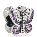Sterling Silver Sparkling Butterfly with Tanzanite and Clear Austrian Crystal Charm