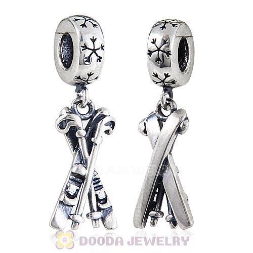 European Style Sterling Silver Dangle Skis Charm Beads