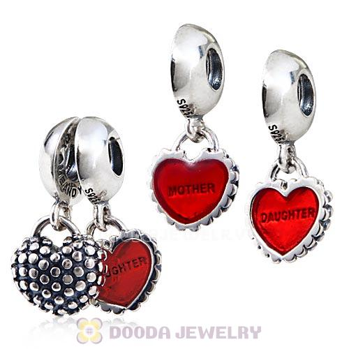 Sterling Silver Dangle Mother and Daughter Red Enamel Charm with Screw