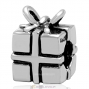 925 Sterling Silver Christmas Present Box Charm Bead