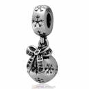 925 Sterling Silver Christmas Ornament Dangle Charm Beads with CZ Stone