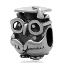 925 Antique Sterling Silver Charm Graduation Study Owl Bead