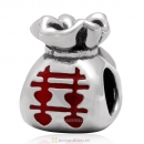 925 Sterling Silver Wedding Candies Charm Bead Red Enamel