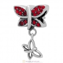 925 Sterling Silver Come Fly With Me Charm with Lt Siam Austrian Crystal