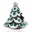925 Sterling Silver Merry Christmas Tree Bead with Emerald Australian Crystal
