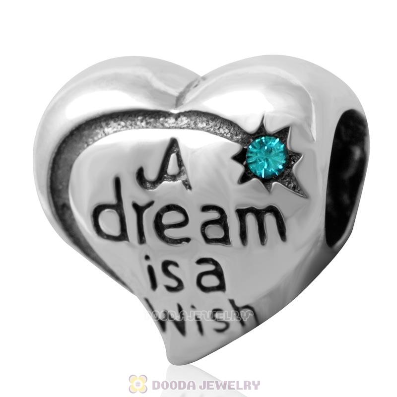 925 Silver A dream is a wish your heart makes Bead with  Blue Zircon Crystal