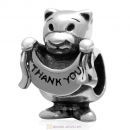 925 Sterling Silver Thank You Bear Charm Bead