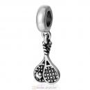 Tennis Ball Racket Dangle Bead 925 Sterling Silver