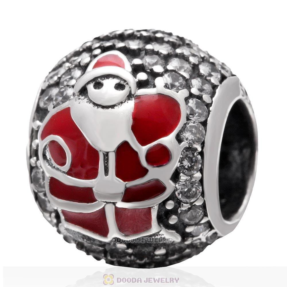 925 Sterling Silver Christmas Santa Claus Charm Bead with Clear Zircon Stones