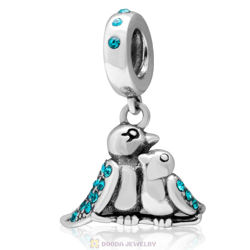 925 Sterling Silver Birds Of A Feather Charm with Blue Zircon Crystal