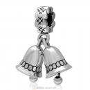 925 Sterling Silver Dangle Bell Charm for Christmas Gifts