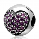 Handmade 925 Sterling Silver Love Of My Life Clip Charm Bead with Pink CZ Stone