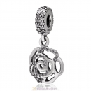925 Sterling Silver Rose Flower Dangle Charm with Clear Zircon Stone