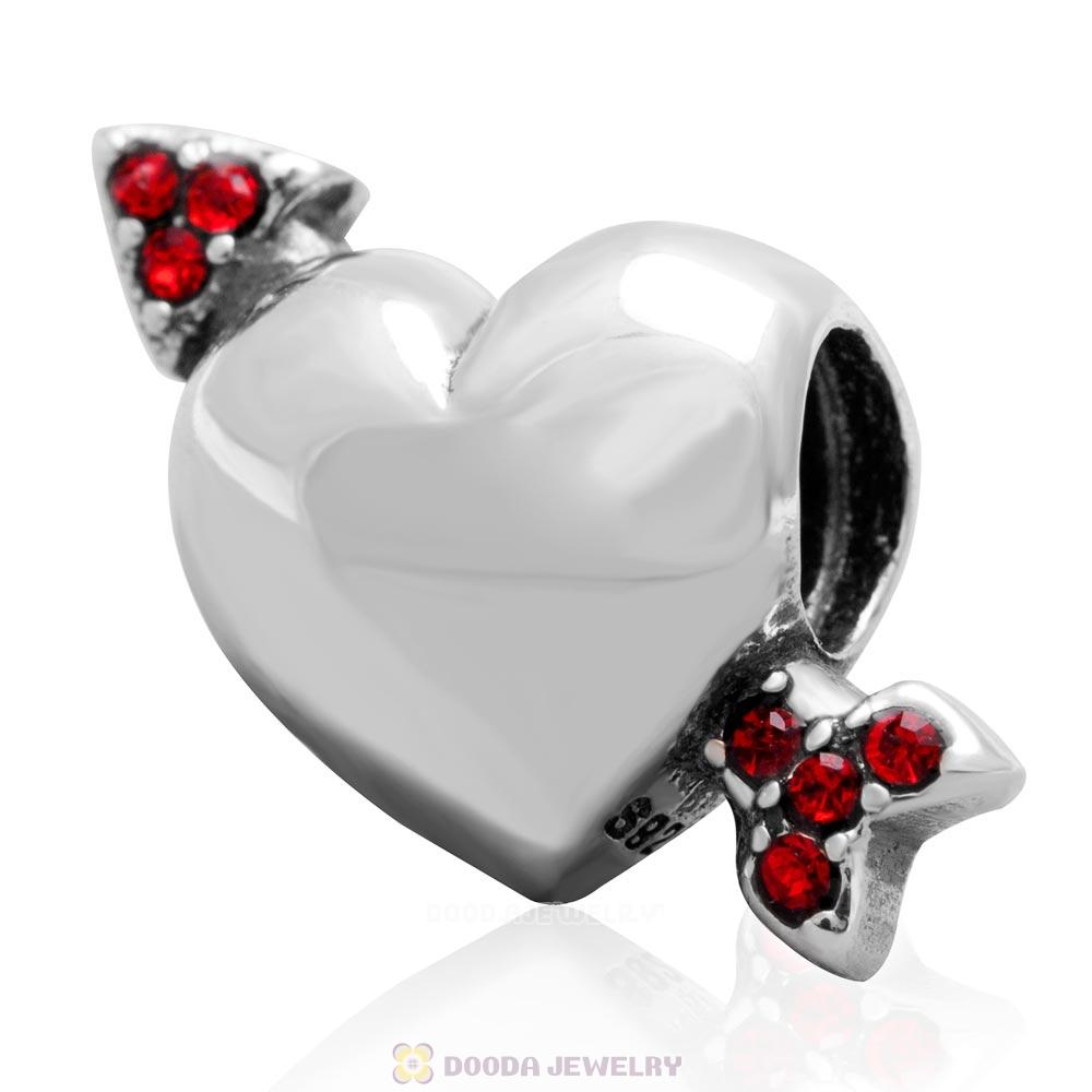 925 Sterling Silver Heart Arrow of Cupid Love Bead with Lt Siam Crystals