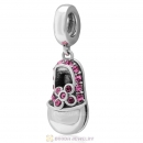 Rose Crystal Baby Shoe Dangle 925 Sterling Silver Charm