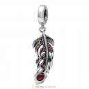 925 Sterling Silver Winter Feather Colorful Crystal Charm