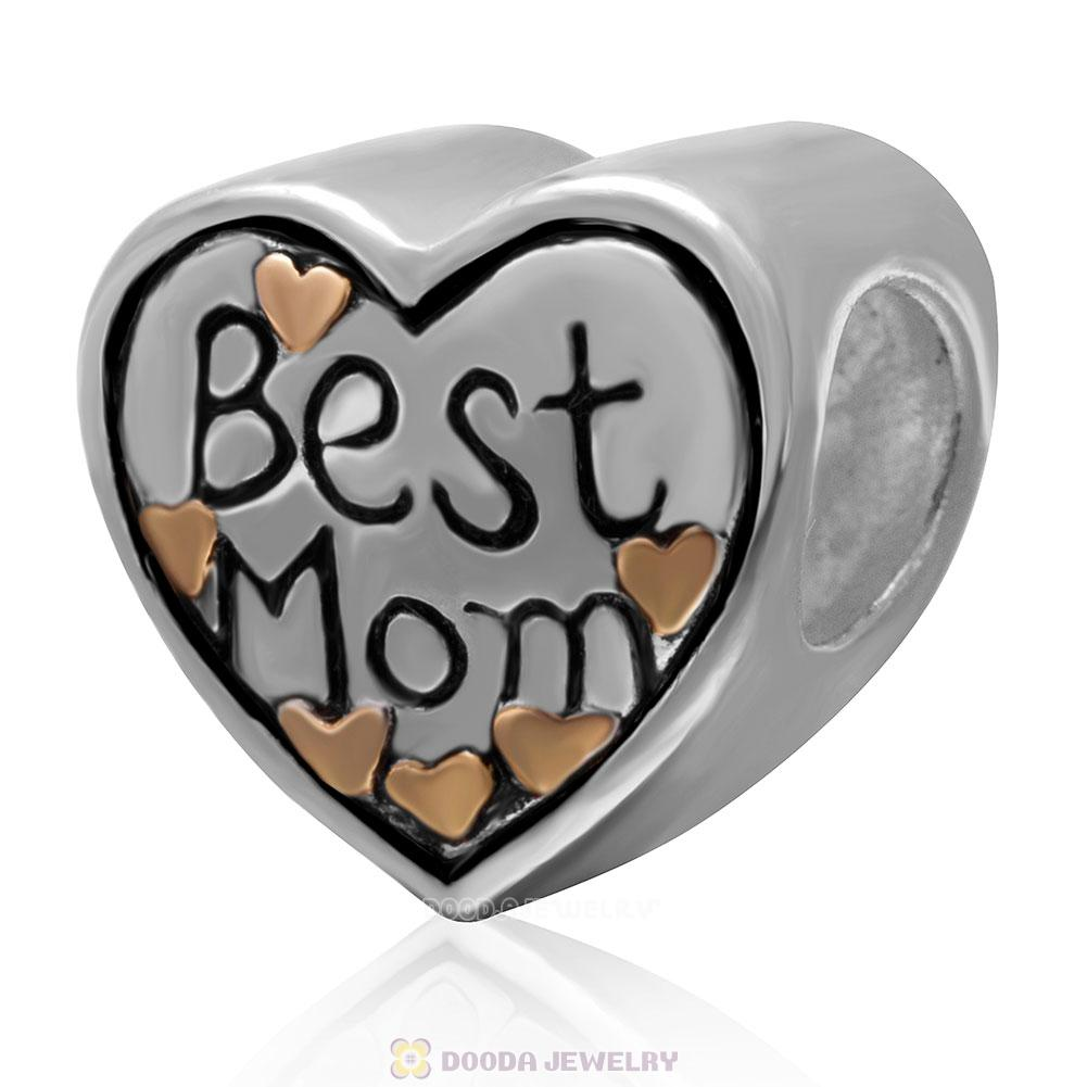 925 Sterling Silver Gold Plated Love Best Mom Heart Bead