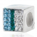 925 Sterling Silver Dice Charm Beads with White Blue and Green Austrian Crystal Wholesale