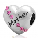 925 Sterling Silver Rose Crystal Mother Heart Love Bead