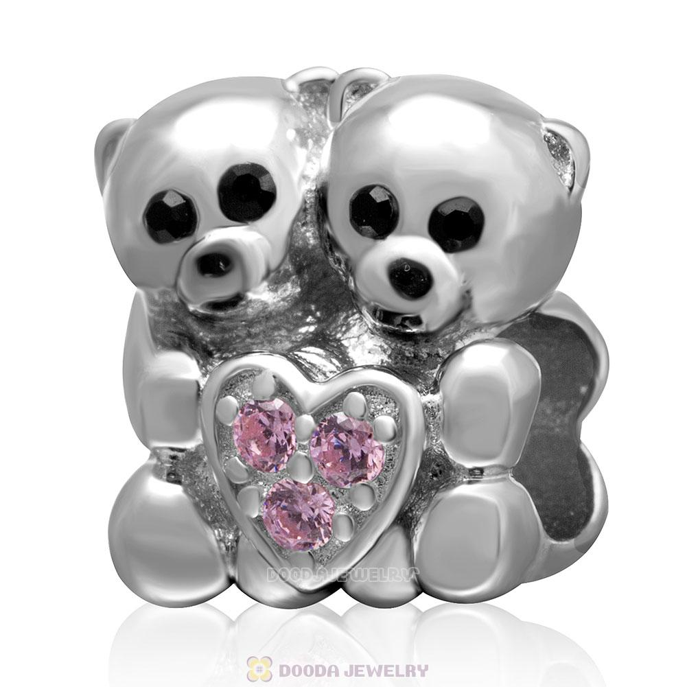 925 Sterling Silver Bear Hug Pink Heart Charm with Stone