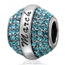 925 Sterling Silver March Birthstone Round Bead