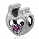 925 Sterling Silver Mother Child Love Charm with Fuchsia Stone