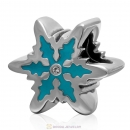 925 Sterling Silver Blue Snowflake Charm Bead with Clear Crystal