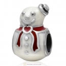 925 Sterling Silver Christmas Happy Snowman with White and Red Enamel Charm Bead