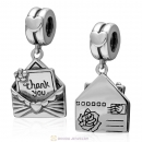 925 Sterling Silver Thank You Envelope Dangle Charm