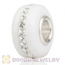 White Frosted Glass Silver Core Bead With Austrian Crystal For European Bracelet