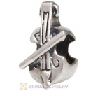 Solid Sterling Silver European Style violin Beads and Charms