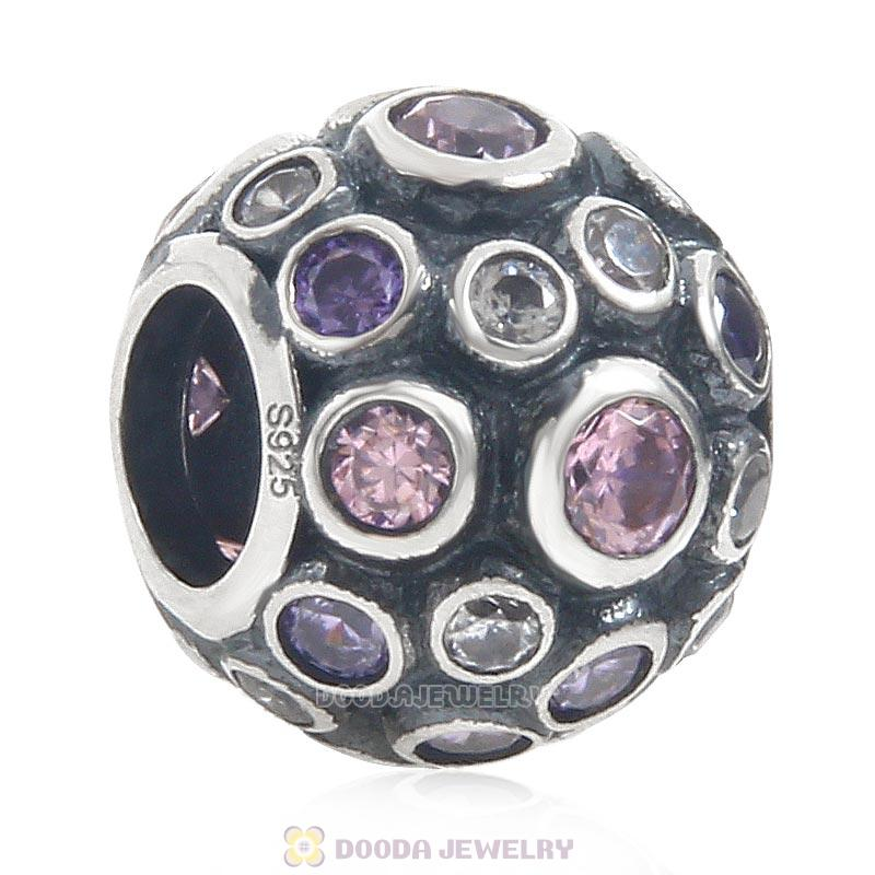 925 Sterling Silver Bead with Clear Pink and Purple Cubic Zirconia
